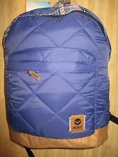 NEW ROXY BACKPACK BOOK SCHOOL STUDENT BAG Blue Faux Suede