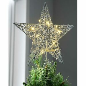 Pre-lit Star Christmas Tree Topper Silver Decoration Warm White LED Lights 31cm