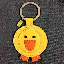 NEW Coach Patent Leather Yellow Duck Keyfob Keychain