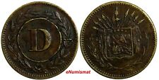 "Costa Rica Arms Token Bronze Variety Letter ""D"" in CIRCLE 19 mm Rulau CR63"