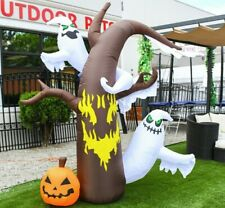 Halloween Air Blown Inflatable Yard Decoration 7.5' Tall Scary Tree w/Ghosts LED
