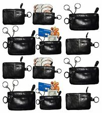 Lot of 12 Leather change purse,Black Zip coin wallet 2 pocket coin case key ring