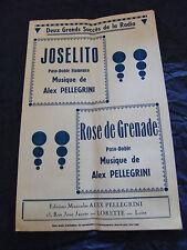 Partizione Joselito Alex Pellegrini Rose grenade 1954 Music Sheet