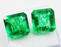 18 CT Natürliches grünes Smaragd Paar Smaragdform Edelsteine Ggl zertifiziert