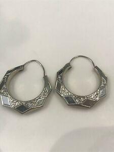 Art Deco 10k White Gold Etched Hoop Earrings