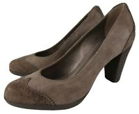 GEOX Respira Brown Leather Suede Rounded Toe High Heel Shoes EU 35 UK 2 / 2.5