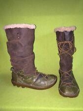 Brown & Green El Naturalista Boots with Side Vent Zipper 8.5 40 M7