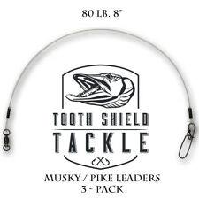 "80 lb 8"" Musky Pike Fluorocarbon Fishing Leader Stay-Lok Snap BB Swivel 3 Pack"