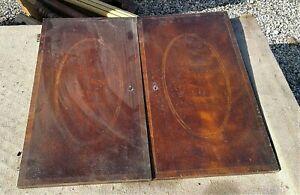 Pair of Antique Mahogany Cabinet Doors Inlaid Ovals Parts 1930s Era