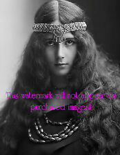 Old VINTAGE Antique LONG HAIR GYPSY LADY w HEAD PIECE Photo Reprint
