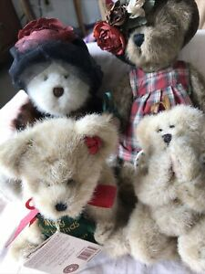 Vintage set of 4 Boyds Bears & Friends Jointed Teddy Bears Vintage Plushes