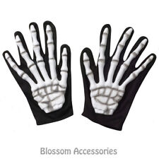 A933 Adult Skeleton Hands Halloween Ghost Reaper Ghoul Costume Short Gloves