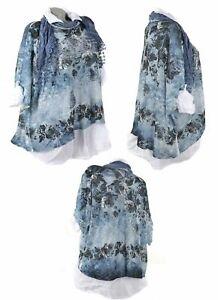 3Tlg Tunika Lagenlook Kleid Netz Schal Twinset Hängerhen Spitze Shirt Blau