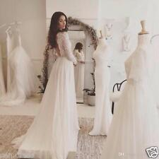 Lace Chiffon Beach Wedding Dresses Long Sleeve Open Back Long Bridal Gown Custom
