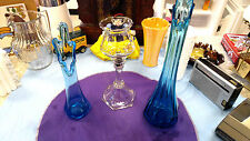 stretch vases medium and large teal and crystal pillar votive candle hold