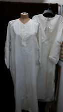 Lot of 2 Antique 1900's 1910's White Cotton Long Shirts Full Back Amoskaeg L