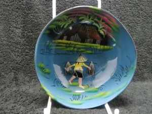 Coconut Shell Folk Craft Art Bowl Hand Painted