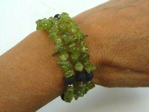 Peridot Wrap Bracelet Polished Beaded 32 grams Reiki Healing