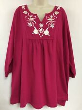 Ulla Popken Pink Embroidered Pleated Tunic Top 3/4 Sleeves Plus Sz 28/30 4X