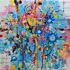 Intuitive abstract painting pink,blue, yellow contemporary  artist Joy Campbell