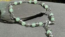 Handmade Natural  Light Green Emerald  Gemstone Silver Dainty  Chain Bracelet