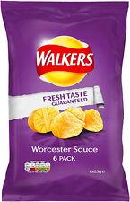 WALKERS Worcester Salsa PATATINE 6 x 25g-venduti in tutto il mondo dal Regno Unito