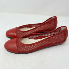 Taryn Rose Red Perforated Leather Slip On Flats Shoes Round Toe