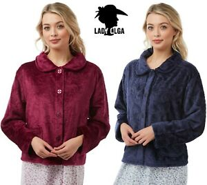 NEW Ladies Warm Embossed Bed Jacket Button Through By Lady Olga