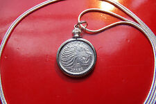 """20mm African Lion Bezel Pendant on a 30"""" 925 Sterling Silver Snake Chain"""