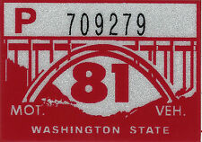 1981 WASHINGTON Vinyl Sticker Decal -CAR or TRUCK License Plate Reg. TAB TAG-New