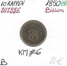 SUISSE - 10 RAPPEN - 1850 BB - Pièce de Monnaie en Billon // Qualité: B