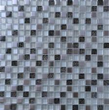 1 SQ M Black & Silver Glass and Brushed Steel Mosaic Tiles 0151