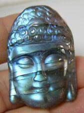 #0 91.00ct Madagascar 100% Natural Labradorite Buddha Carving 18.20g 40.00mm