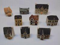 9 lot cottages UK English houses miniatures Ceramic Philip Laureston Library Set