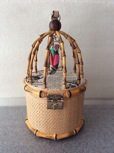 Kate Spade Haute Stuff Parrot Bird Cage Wicker Bag Purse Clutch Pre-owned