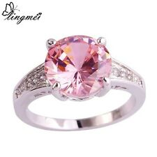 Round Cut Pink & White Sapphire  in Sterling silver Ring