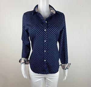 Chaps Women Size L No Iron Blue Button Long Sleeves Blouse Top Shirt