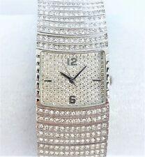 Womens Bracelet Watch New Clear Crystals Cuff Flex Style Band Silver Tone Metal
