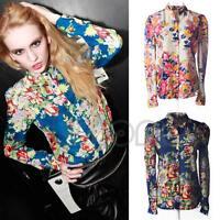 Vintage Women Chiffon Long Sleeve Floral Print Lapel T Shirt Casual Blouse Tops