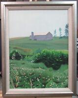 George North Morris Farm with Barn Landscape Realist Ptg Listed New York Artist