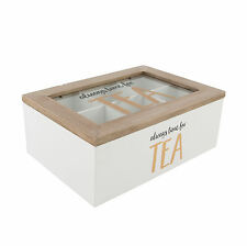 Always Time For Tea Bag Storage Box Wooden 6 Compartment Organiser Caddy Chest