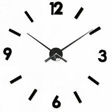 BLACK WALL CLOCK DIY Large 3D Numbers Modern Style Time Piece Home or Cafe NEW