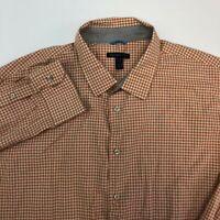 Van Heusen Studio Dress Shirt Mens 18 Orange Tan Cream Long Sleeve Cotton Check