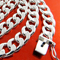 "Mens Silver Necklace Chain Real 925 Sterling S/F Solid Heavy Cuban Link 22"" 55cm"