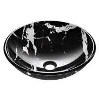 Round Vessel Sink Marbling Pattern Bathroom Tempered Glass Vanity Bowl Basin