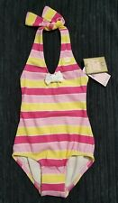 Juicy Couture Girls Swim Maillot Bathing Suit Pink Yellow Stripes Size 4 NEW NWT