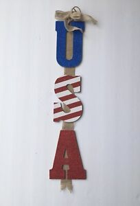 "Patriotic Red White Stripe Red ""USA"" Vertical Letters Hanging Sign 3 Tiered 26"""
