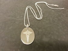 Sterling Silver Medical Alert Necklace Ball Chain. SOS, Diabetes, Allergies