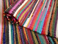 ❤️ PLAIN RECYCLED RAG RUG HAND LOOMED INDIAN BRIGHT MULTI COLOURS FINISHED EDGE