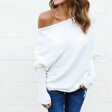 Oversize Lady Off Shoulder Batwing Sleeve Knit Sweater Tops Pullover Outwear